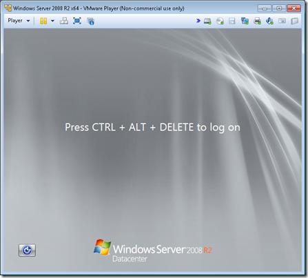 Windows Server 2008 R2 installed on VMware Player
