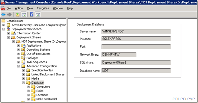 database page in deployment workbench