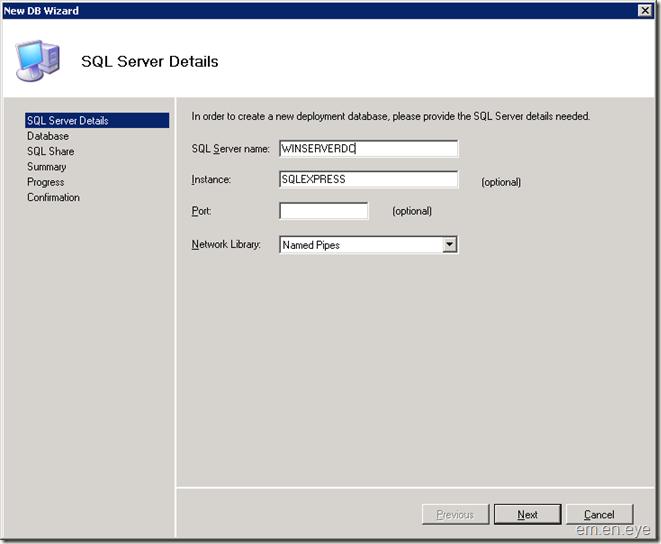 enter sql server details