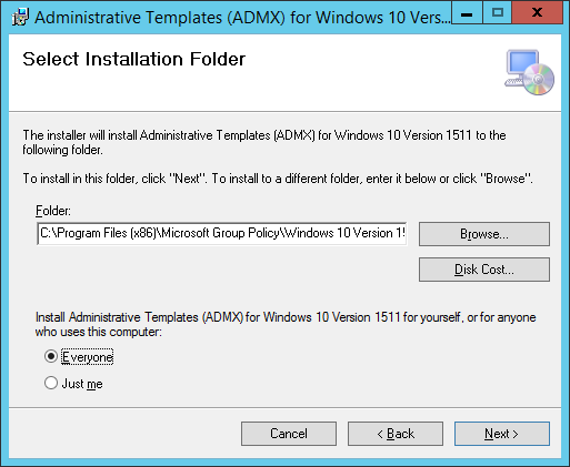 Installing the windows 10 1511 group policy administrative 3 browse to the folder you just installed the administrative templates on open the policy definitions folder pronofoot35fo Gallery