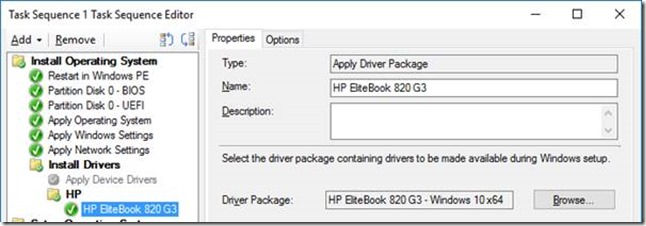 Configure your Task Sequence to Install Driver Packages for